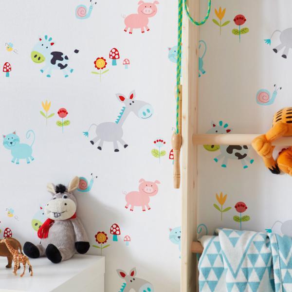 Kinderzimmer Tapete mit Motiv Bauernhof