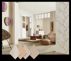 Wohnzimmer mit Tapeten aus der Kollektion FAME in Naturfarben