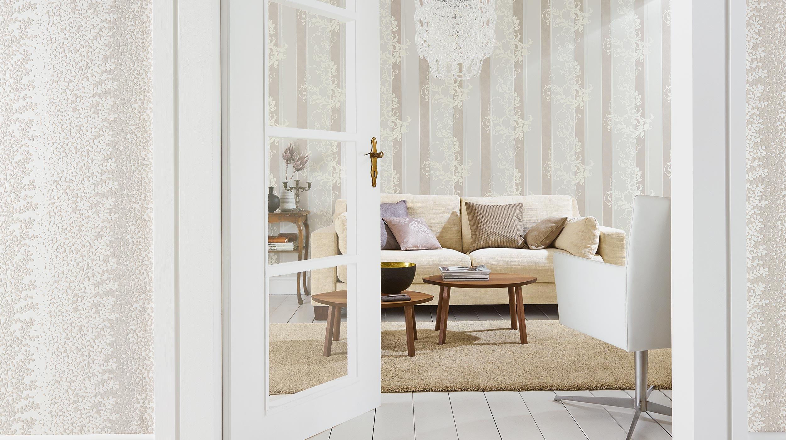 wohnzimmer mit tapete in creme - Tapete Modern