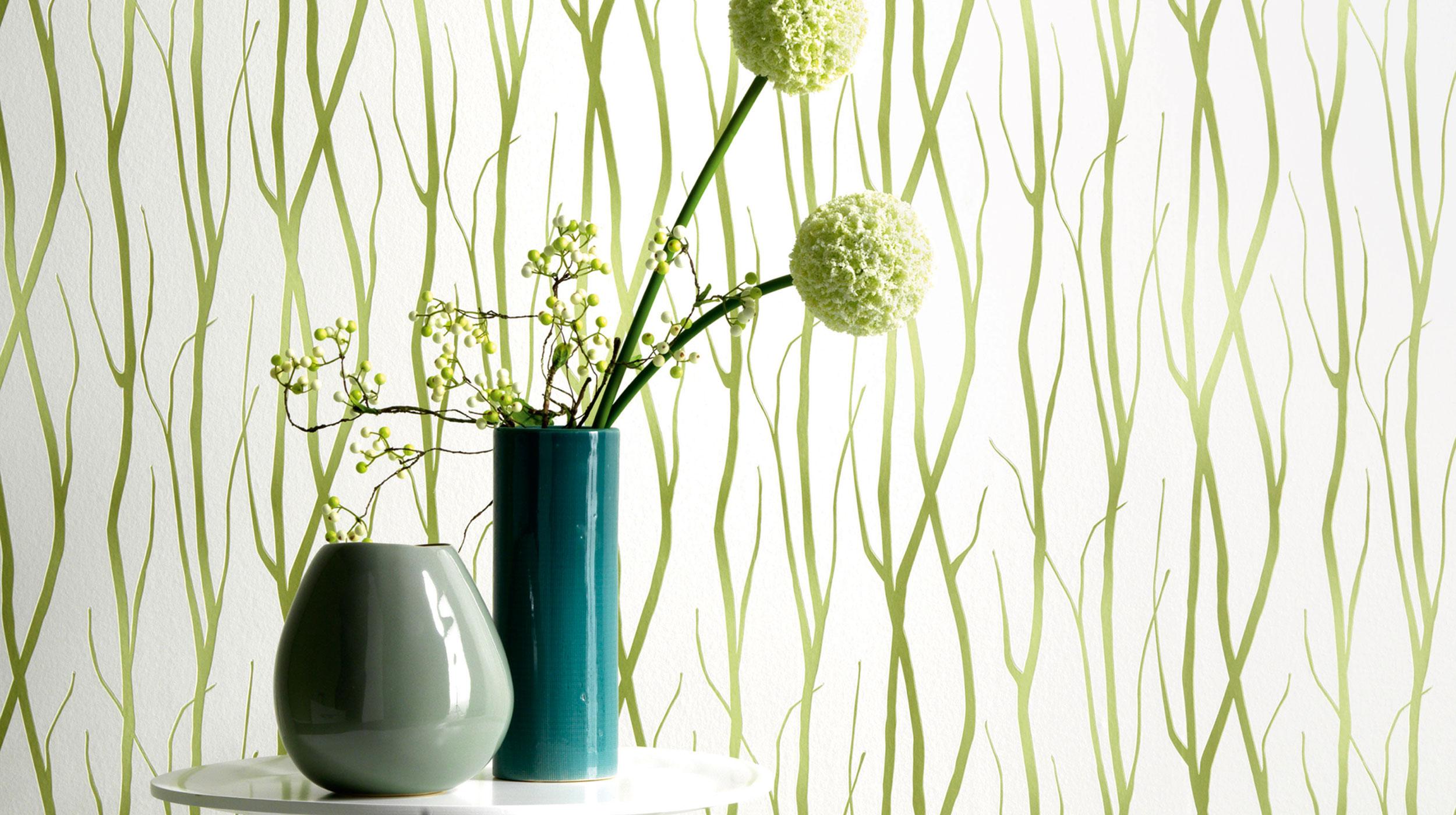 tapete mit astmotiv in bambusgrn - Moderne Tapeten