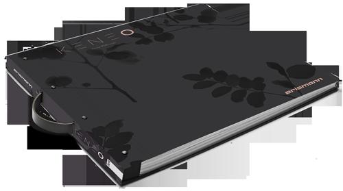 Tapetenmusterbuch der Kollektion Keneo mit schwarzem Blattmotiv auf dunkelgrauem Hintergrund