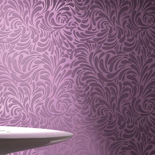 Überstreichbare Tapete In Violett Mit Floralem Muster