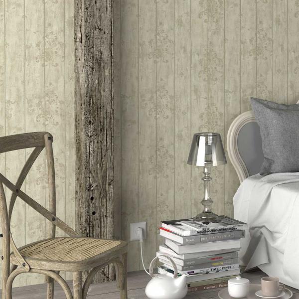 Schlafzimmer mit Tapete in Holzoptik