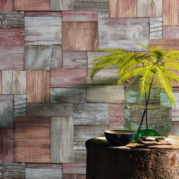 Vliestapete mit modernem Holzmuster in Rot-Grau