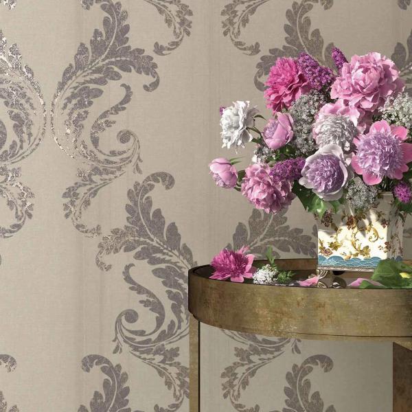 Designertapete mit modernem Ornament-Muster in Taupe
