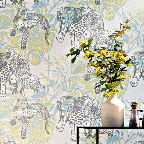 Wandgestaltung mit Vliestapete Dschungelmuster Grün-Blau