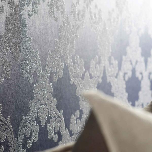 Barocktapete mit echten Glasperlen in Mitternachtsblau