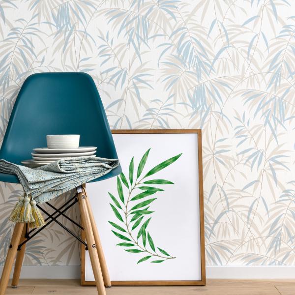 Modernes Zimmer mit Hellblauen Blattmotiven einladend zum Entspannen