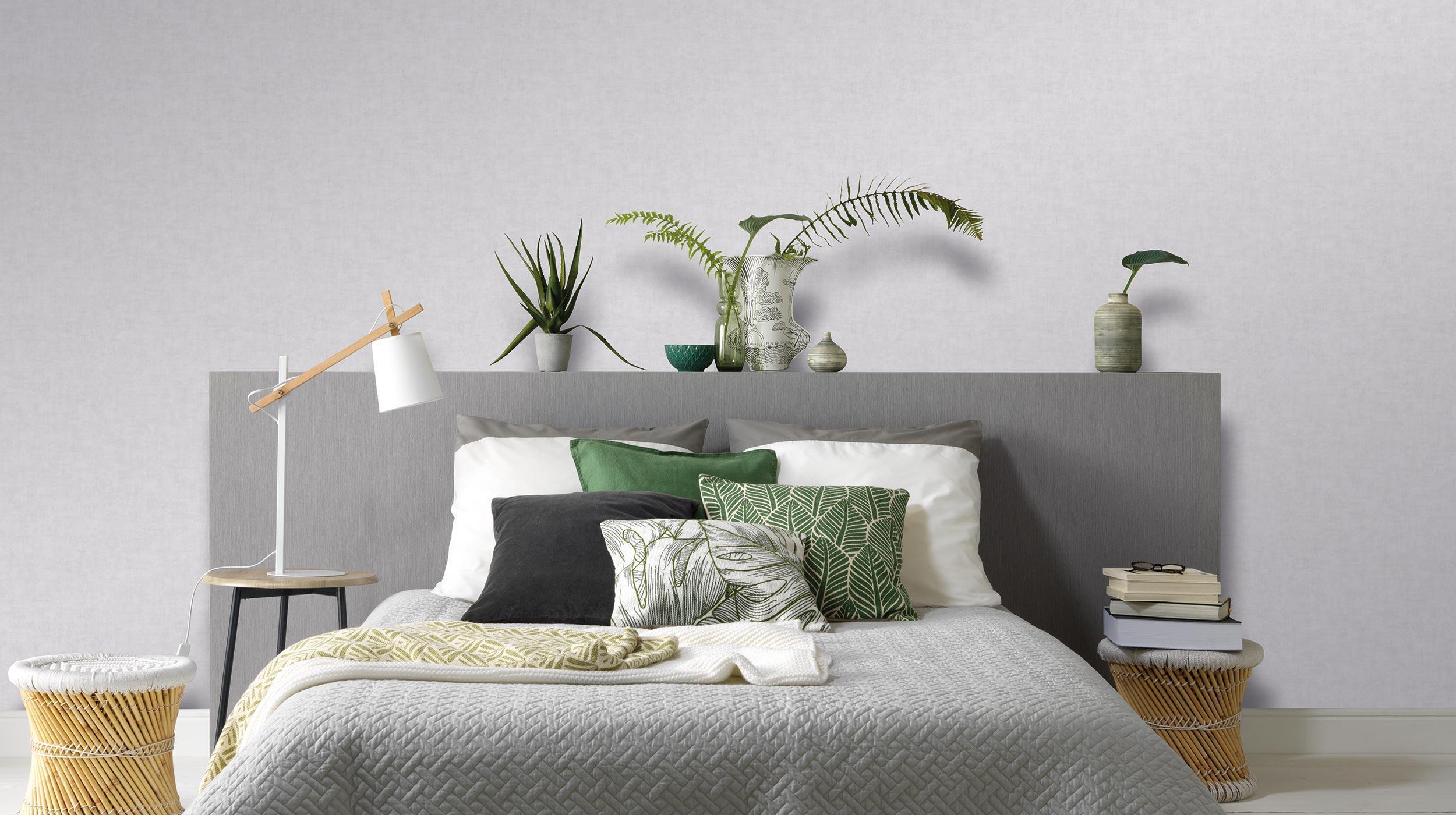 Vliestapete graue Unistruktur in Kalkoptik Kollektion Colour Stories, modernes Schlafzimmer