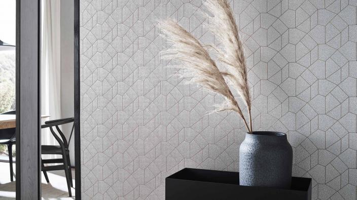 Vliestapete, moderne grafisches Design mit Glimmereffekt in warmem Silber