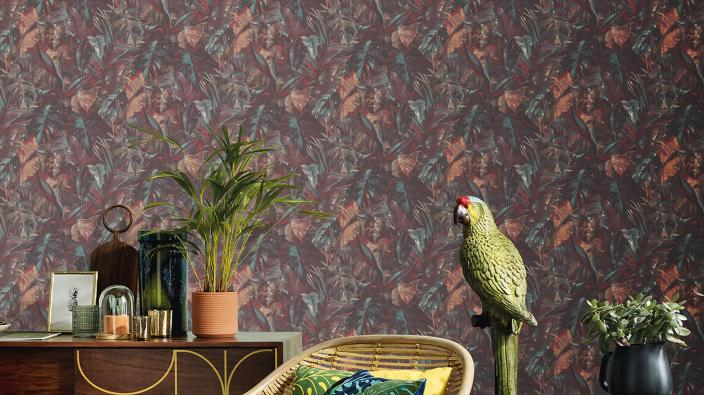 Vliestapete in Dschungel Optik, exotische Deko, Papagei