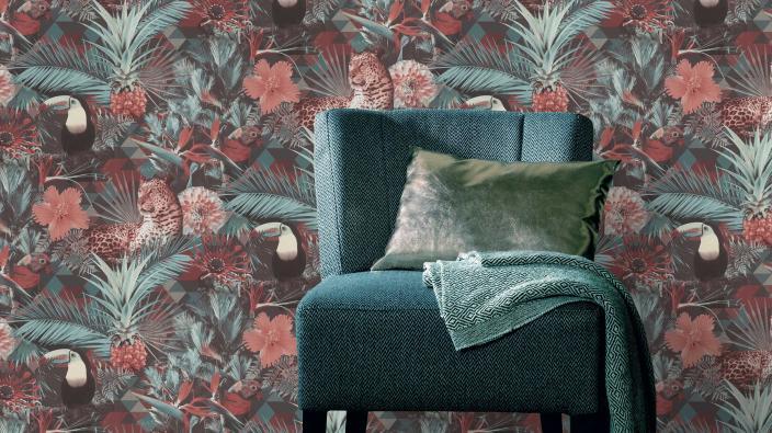 Vliestapete in Dschungeldesign in Trendfarben Mint und Living Coral, Sessel in Türkis