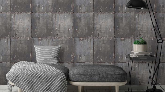 Vliestapete in grauer Steinplatten-Optik für Industrial Look