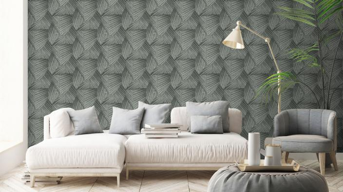 Wohnzimmer mit schöner Tapete, großes Sofa