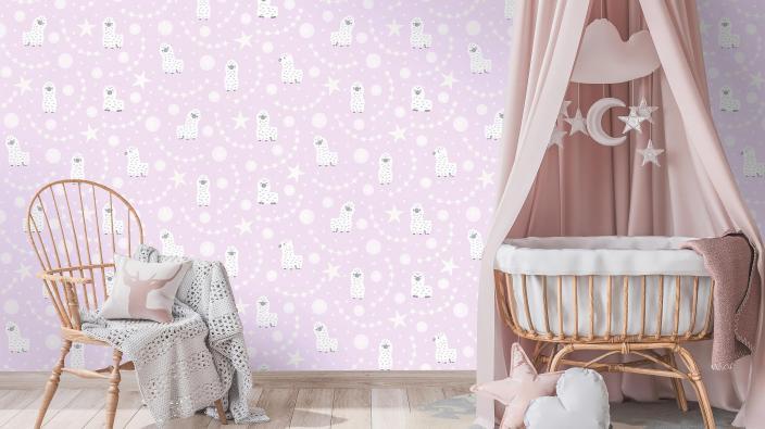 Babywiege in Rosa, Vliestapete mit Baby-Lamas und Sternchen in rose