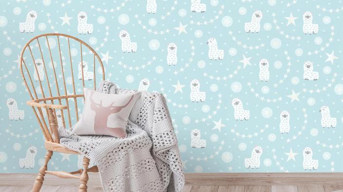 Vliestapete für Kinderzimmer in blassem Türkis mit Baby-Lamas und Sternchen