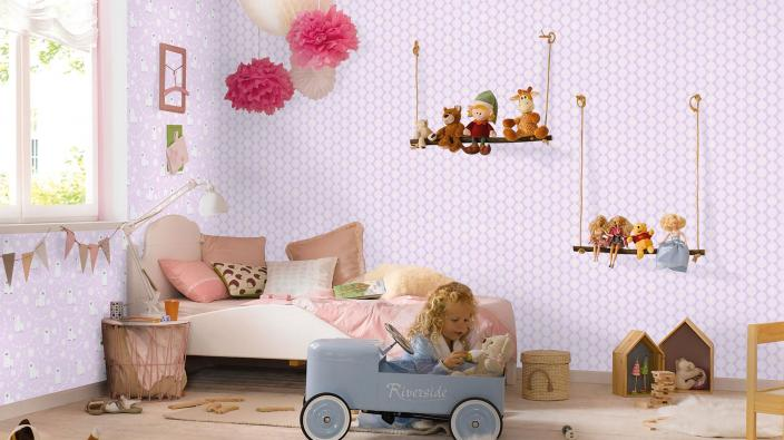 Kinderzimmer in rose mit Vliestapete, Kinderzimmertapete, Spielzeug