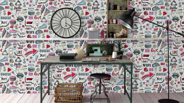Vliestapete mit Graffitti Muster, Schreibtisch im Retro Look