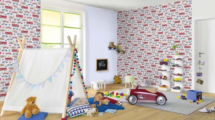 Kinderzimmer für Jungen, Vliestapete mit Feuerwehrautos, Polizeiwagen, Wigwam, Kinderspielzeug