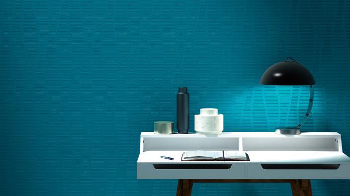 Überstreichbare Tapete mit grafischem Muster in blau