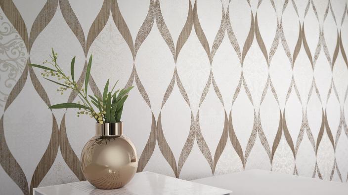 Elegante Vliestapete in Gold-Weiß mit echten Glasperlen. Sideboard mit Vase in Gold