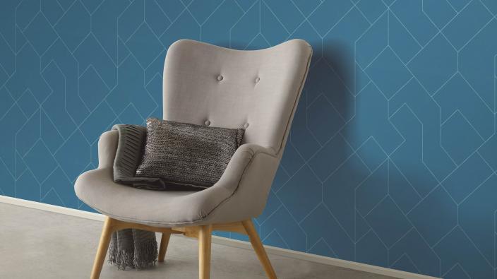 Vliestapete aus der Kollektion Freestyle, moderne Grafik in Mitternachtsblau