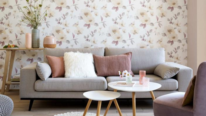 living room with flower wallpaper scandi style