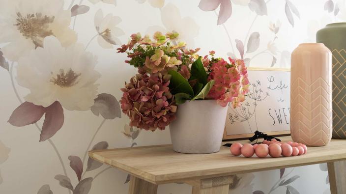 non woven wallpaper creamy flowers