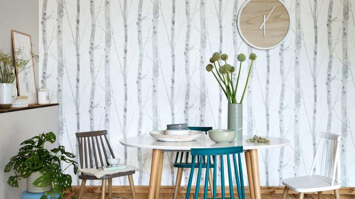 kitchen with non woven wallpaper in scandinavian style
