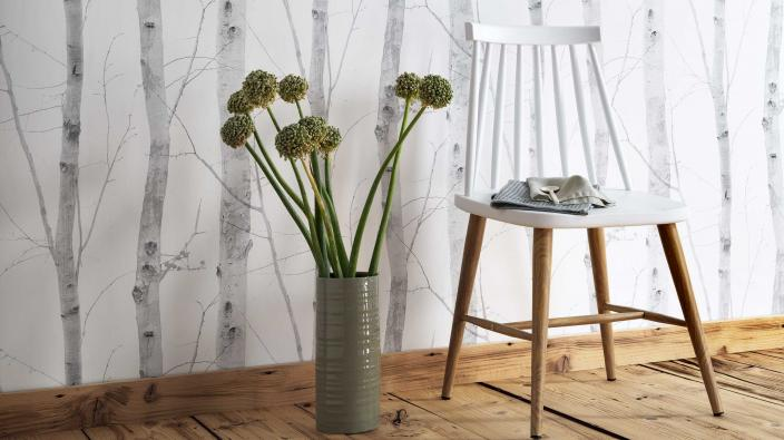 non woven wallpaper with birch trees