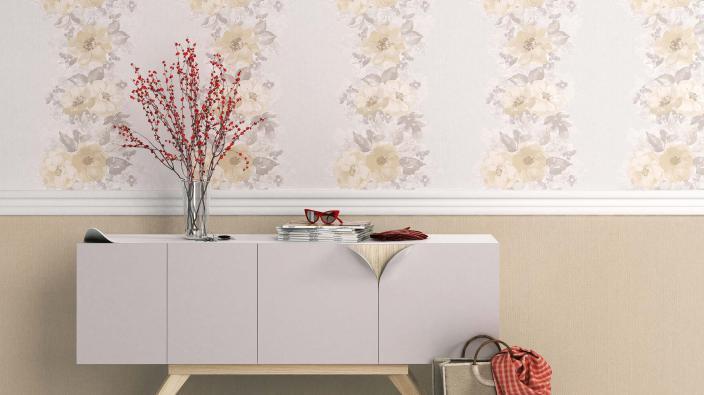 Vliestapete Blumentapete in Creme, Sideboard weiß