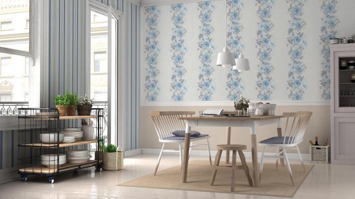Wohnküche mit hellen Möbeln und blauer Blumentapete