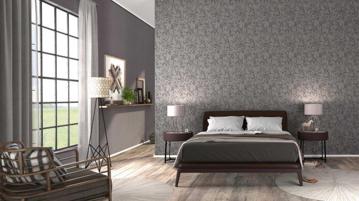 Schlafzimmer mit moderner Vliestapete in Taupe