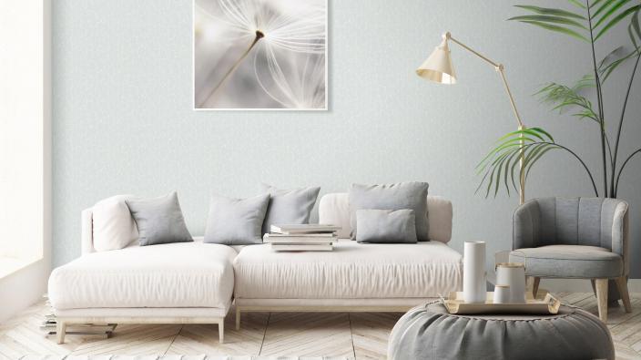 modernes Wohnzimmer mit Vliestapete, graues Steinmotiv
