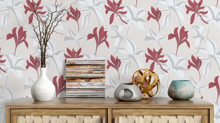 Vliestapete, Blumentapete, rot, sideboard aus holz, deko