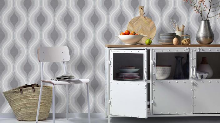 Vliestapete in hell grau, Wellenmotiv, Küche