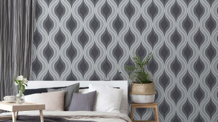Vliestapete, Wellenmotiv in grau-weiß, Schlafzimmer