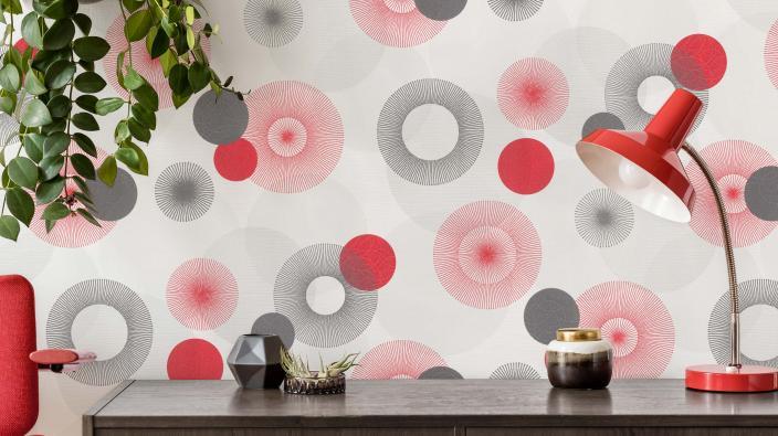 Wandgestaltung im Retro-Look der 1970er Jahre, Vliestapete mit roten und grauen Kreise