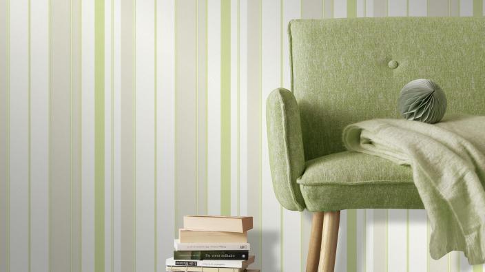 Vliestapete Deutschand tapeziert - Streifentapete in frischem Grün
