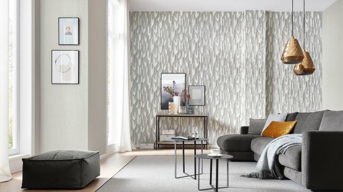 Vliestapete von Guido Maria Kretschmer - Modernes Wohnzimmer in hellem Perlgrau