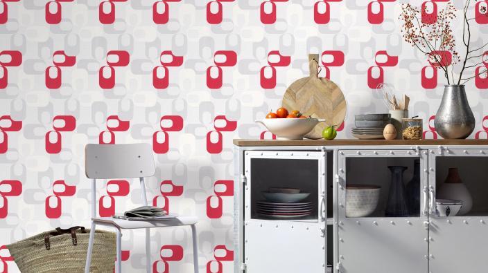 Vliestapete im Retro Look in Rot, Küchen Sideboard industrial Look in weiß