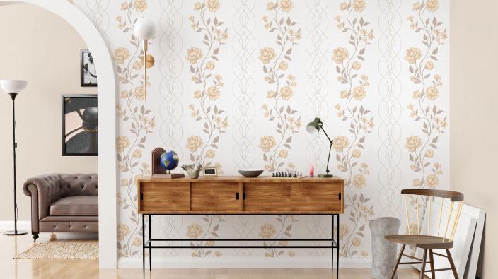 Vliestapete mit zartem Blütenpanel in hellen Cremetönen, moderner Flur mit Sideboard aus Holz