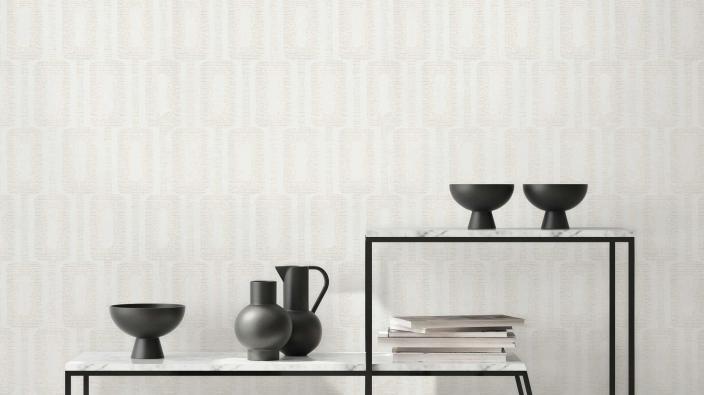 Vliestapete in weiß mit zarten Glanzeffeken und grafischem Muster, Regal im Japandi Look