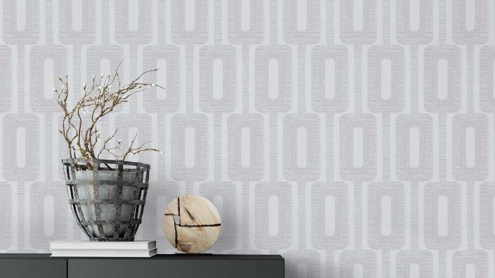 Vliestapete in hellgrau mit zarten Glanzeffeken und grafischem Muster,