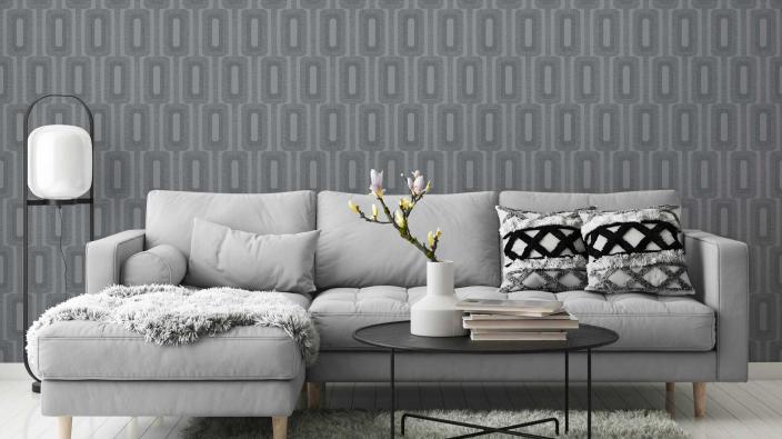 Vliestapete mit grauem grafischen Muster, Sofa grau