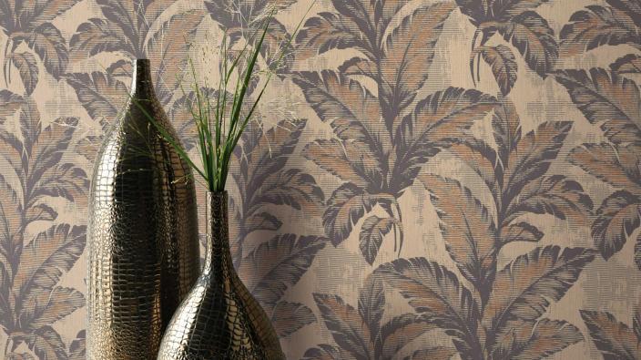 Vliestapete mit Palmenblättermotiv