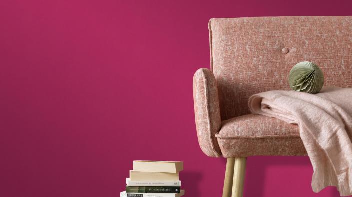 Vliestapete pinke Unistruktur Kollektion Colour Stories Sessel rosa, bücher