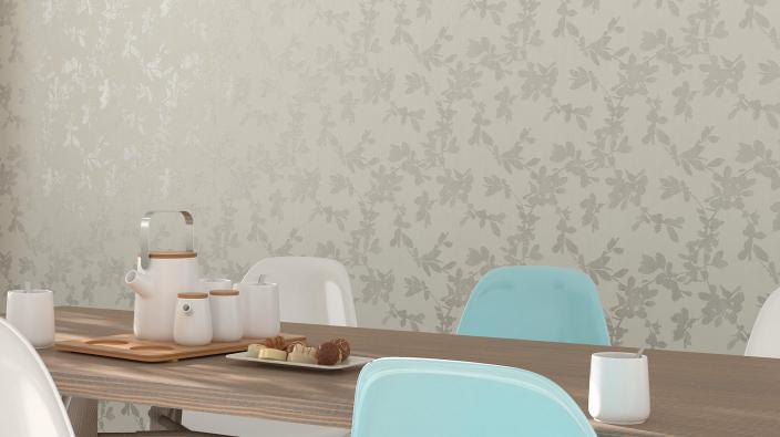 Esszimmer mit weißer Tapete und Blattmuster