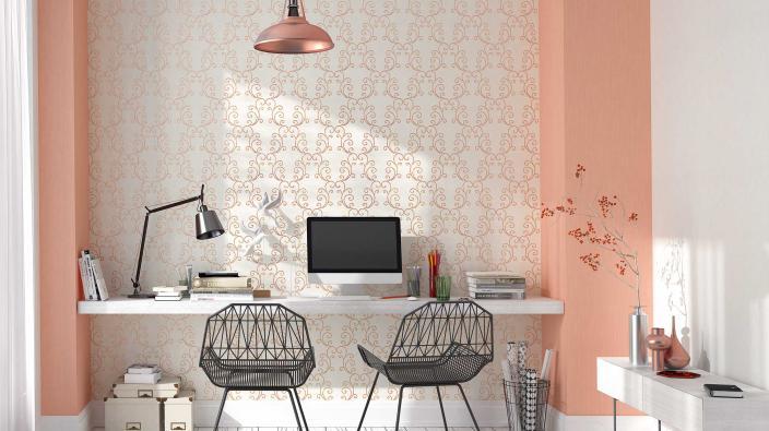 Arbeitszimmer mit Tapete in Kupfer-Orange