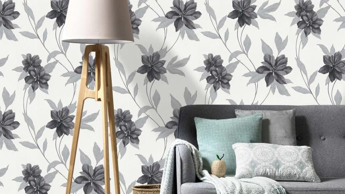 wallpaper collection spring black and silver blossoms